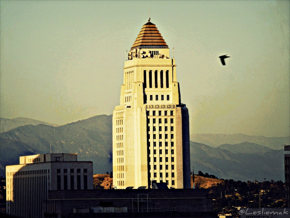 Los Angeles City Hall from Perch Los Angeles DTLA photo by Leslie Macchiarella