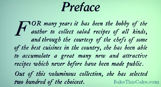 Preface of Salads cookbook by Olive M Huse 1910 by bake this cake