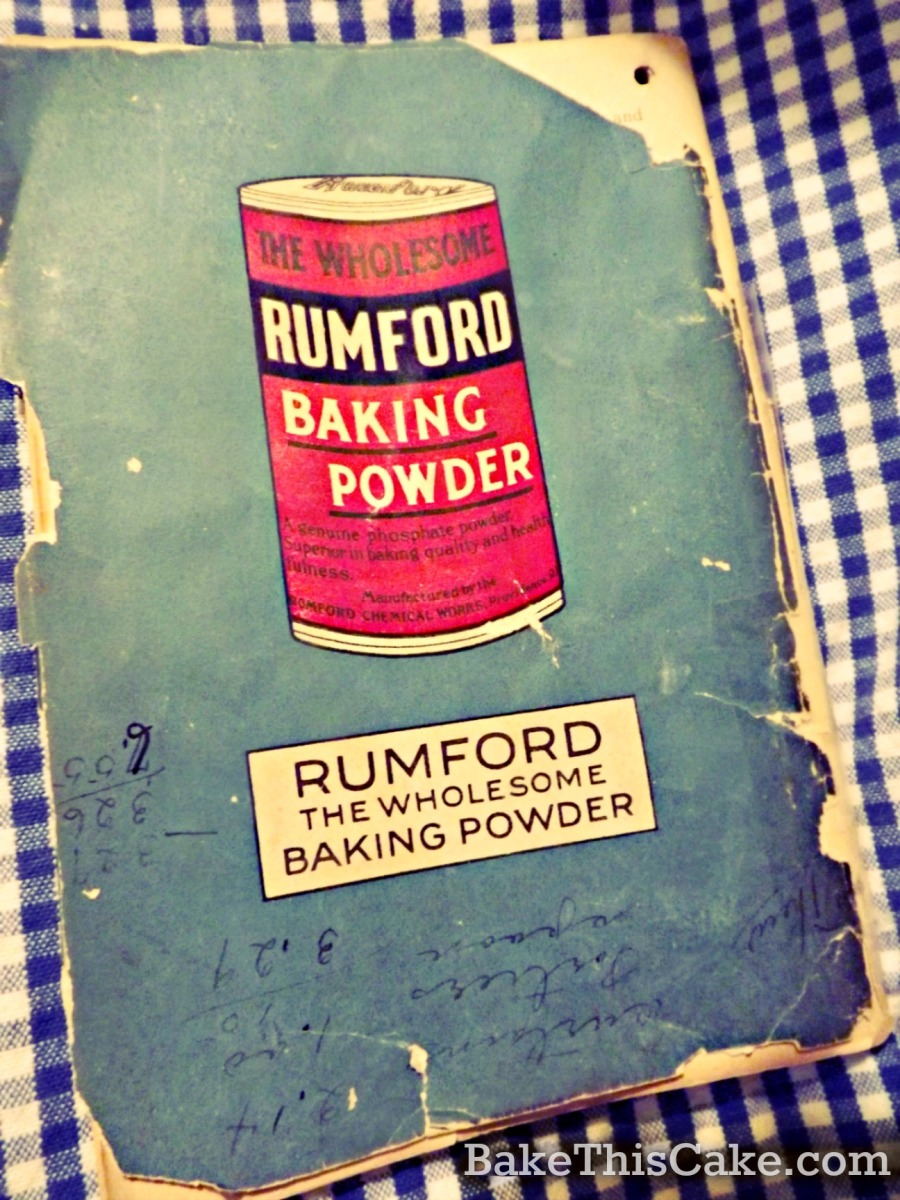 Back Cover of Rumford Everyday Cook Book 1924 by bake this cake