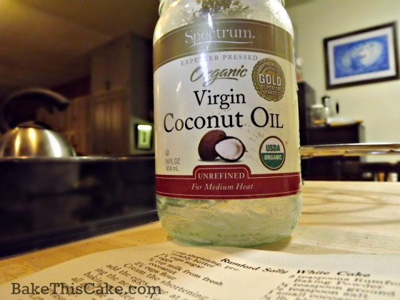 Coconut Oil for Maggie's vintage coconut cake recipe by bake this cake