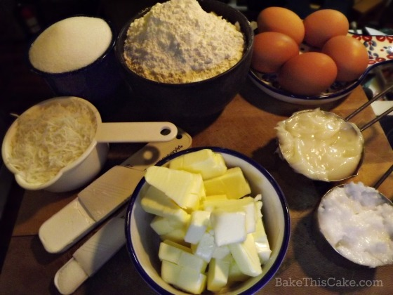 Ingredients for vintage homemade coconut cake by Bake This Cake