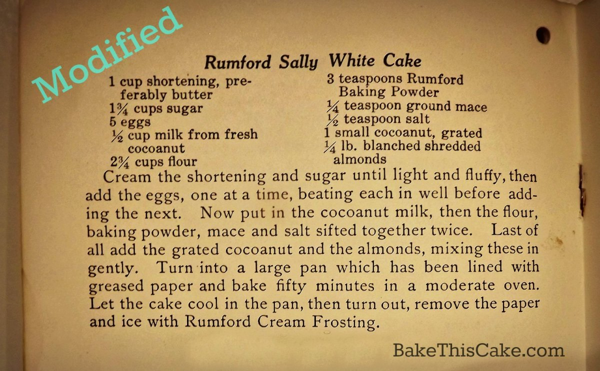 Sally Cake Modified for Golden Coconut Cake recipe by Bake This Cake