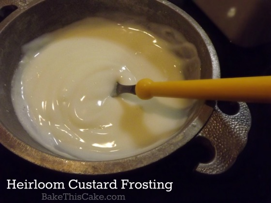 Heirloom custard frosting stovetop by bakethiscake