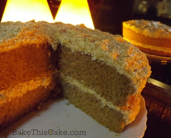 1912 vintage pumpkin spice cake with pumpkin custard frosting by bakethiscake