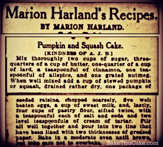 1912 pumpkin cake recipe by marion harland by bakethiscake