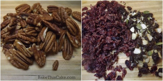 chopped nuts and mixed dried fruits for boozy election cake by bakethiscake