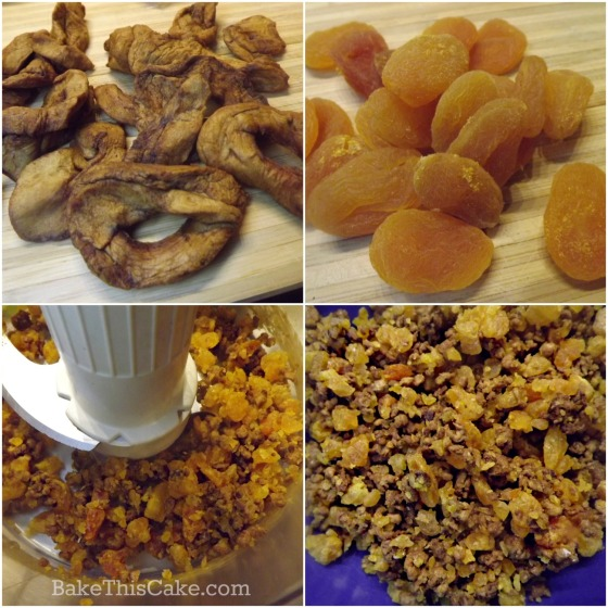 chopping dried fuji apples and dried apricots for grandma's apple cake by bakethiscake