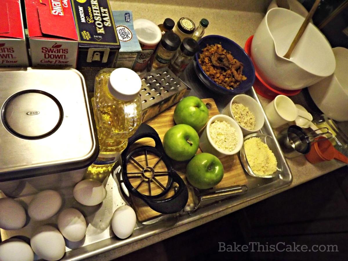 Preparing to make a big fresh apple cake recipe by bake this cake