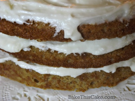 Side close up of historic maple syrup cake layers by bake this cake