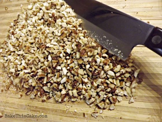 chopped mixture of fresh nuts for boozy brownies by bakethiscakecom