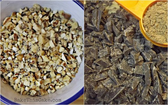 Mixed fresh nuts dark chocolate and cocoa for boozy brownies by bakethiscakecom
