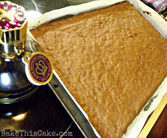 baking boozy brownies in a cookie sheet pan by bakethiscakecom