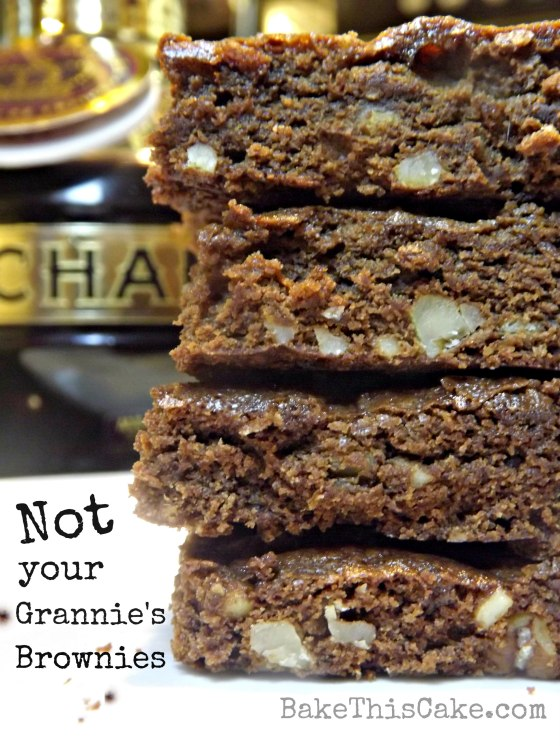 Stacking boozy brown butter nutty brownies by bakethiscakecom